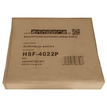 anndora Granit Sonnenschirmständer 40kg rollbar 45x45cm Adapter 48, 38mm - Dunkelgrau Poliert - 4