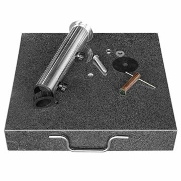 anndora Granit Sonnenschirmständer 40kg rollbar 45x45cm Adapter 48, 38mm - Dunkelgrau Poliert - 5