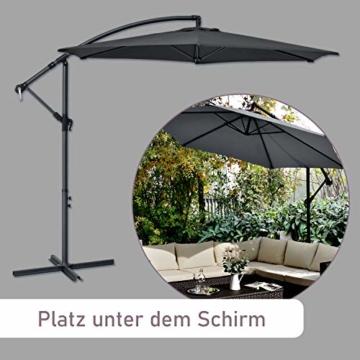 ArtLife Ampelschirm Brazil 350 cm LED-Beleuchtung Solar & Kurbel – UV-Schutz wasserabweisend knickbar – Sonnenschirm Marktschirm – grau - 2