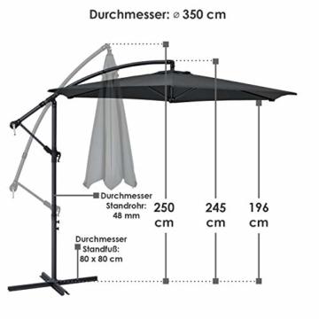 ArtLife Ampelschirm Brazil 350 cm LED-Beleuchtung Solar & Kurbel – UV-Schutz wasserabweisend knickbar – Sonnenschirm Marktschirm – grau - 3