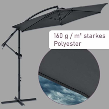 ArtLife Ampelschirm Brazil 350 cm LED-Beleuchtung Solar & Kurbel – UV-Schutz wasserabweisend knickbar – Sonnenschirm Marktschirm – grau - 4