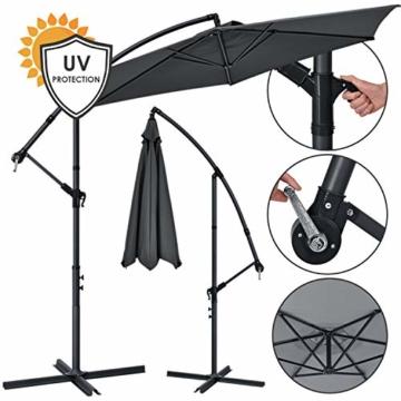 ArtLife Ampelschirm Brazil 350 cm LED-Beleuchtung Solar & Kurbel – UV-Schutz wasserabweisend knickbar – Sonnenschirm Marktschirm – grau - 1