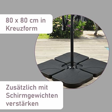 ArtLife Ampelschirm Brazil 350 cm LED-Beleuchtung Solar & Kurbel – UV-Schutz wasserabweisend knickbar – Sonnenschirm Marktschirm – grau - 6
