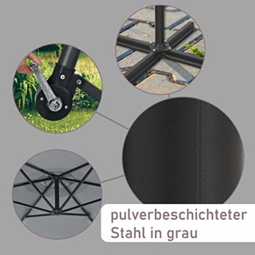 ArtLife Ampelschirm Brazil 350 cm LED-Beleuchtung Solar & Kurbel – UV-Schutz wasserabweisend knickbar – Sonnenschirm Marktschirm – grau - 7
