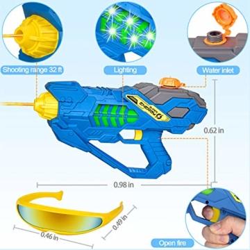 balnore Elektrische Wasserpistole mit Brille Wasserspritzpistolen Kinder Automatischer Spielzeug Wassersprühpistole Sommer Kinderspielzeug für Jungen und Mädchen - 3