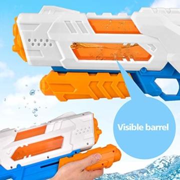 balnore Wasserpistole Spielzeug mit Langer Reichweite für Kinder Erwachsene Wasserpritzpistole 10-12 Meter Reichweiter 1200ML Strandpielzeug Garten Party Pool Strand Wasser Kampf Spiel - 2