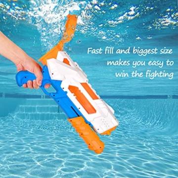 balnore Wasserpistole Spielzeug mit Langer Reichweite für Kinder Erwachsene Wasserpritzpistole 10-12 Meter Reichweiter 1200ML Strandpielzeug Garten Party Pool Strand Wasser Kampf Spiel - 6