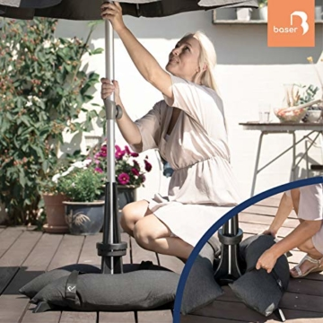 Baser Sonnenschirmständer mit befüllbarer Sandsäcken 30 kg/40 kg/50 kg. Alternativ zum Granit Sonnenschirmständer mit Rollen. Befüllbar Sonnenschirm Schirmständer mit Tragegriff (40 KG, Dunkelgrau) - 5