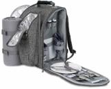 Brubaker Picknickrucksack für 2 Personen Grau 28 × 40 × 22 cm - mit Kühlfach, Iso-Flaschenhalter und Fleece-Decke mit wasserdichter Unterseite - 1
