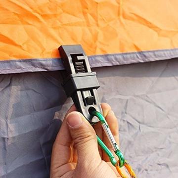 Campingzelt Clip 10 stücke Vorzeltteppich Clips Kunststoff Feststellbar Mittels Verzahnung, Mini Feste Zelt Snaps Im Freien Markise Plane Clips Zelt Befestigung für Outdoor Aktivitäten - 4