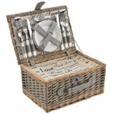 [casa.pro] Picknickkorb für 4 Personen - Picknick-Set mit Kühltasche inkl. Geschirr, Besteck, Korkenzieher und Gläser (grau) - 1