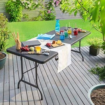 Casaria Gartentisch Klapptisch Klappbar 180 cm Poly Rattan Optik Kunststoff Schwarz Campingtisch Buffettisch Tisch groß - 3