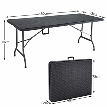 Casaria Gartentisch Klapptisch Klappbar 180 cm Poly Rattan Optik Kunststoff Schwarz Campingtisch Buffettisch Tisch groß - 5
