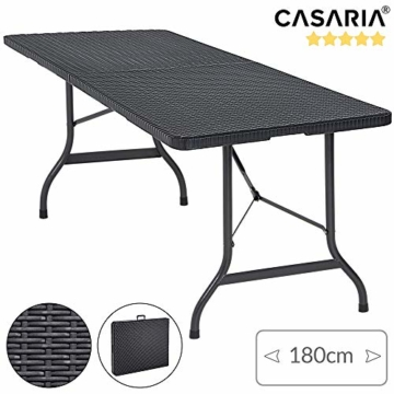 Casaria Gartentisch Klapptisch Klappbar 180 cm Poly Rattan Optik Kunststoff Schwarz Campingtisch Buffettisch Tisch groß - 7