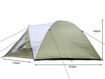 Climecare Kuppelzelt 2-3-4 Personen, Zelte 3 Jahreszeiten Kuppelzelt Outdoor Campingzelt Iglu-Zelt,doppelschichtig Wasserdichtes, 210x210x135cm - 2