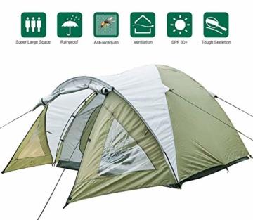 Climecare Kuppelzelt 2-3-4 Personen, Zelte 3 Jahreszeiten Kuppelzelt Outdoor Campingzelt Iglu-Zelt,doppelschichtig Wasserdichtes, 210x210x135cm - 1