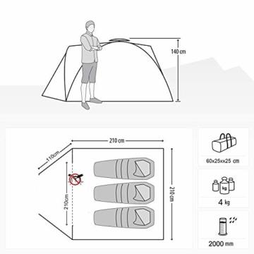 Climecare Kuppelzelt 2-3-4 Personen, Zelte 3 Jahreszeiten Kuppelzelt Outdoor Campingzelt Iglu-Zelt,doppelschichtig Wasserdichtes, 210x210x135cm - 5