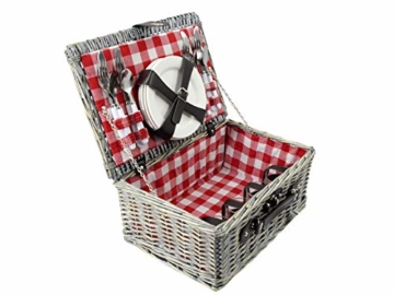 CREOFANT Picknickkorb für 4 Personen · Piknikset · Weidenkorb mit Picknickdecke · 22 teiliges Picknick-Set mit Geschirr · Picknickkoffer Set mit Decke (Natur Karo Rot) - 2
