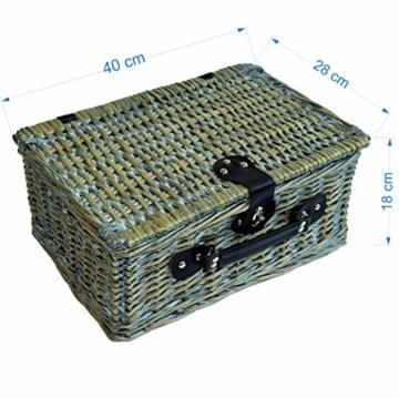 CREOFANT Picknickkorb für 4 Personen · Piknikset · Weidenkorb mit Picknickdecke · 22 teiliges Picknick-Set mit Geschirr · Picknickkoffer Set mit Decke (Natur Karo Rot) - 3