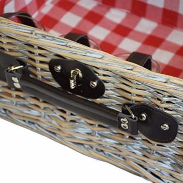 CREOFANT Picknickkorb für 4 Personen · Piknikset · Weidenkorb mit Picknickdecke · 22 teiliges Picknick-Set mit Geschirr · Picknickkoffer Set mit Decke (Natur Karo Rot) - 4