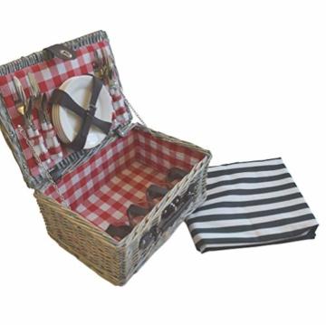 CREOFANT Picknickkorb für 4 Personen · Piknikset · Weidenkorb mit Picknickdecke · 22 teiliges Picknick-Set mit Geschirr · Picknickkoffer Set mit Decke (Natur Karo Rot) - 1
