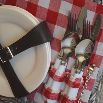 CREOFANT Picknickkorb für 4 Personen · Piknikset · Weidenkorb mit Picknickdecke · 22 teiliges Picknick-Set mit Geschirr · Picknickkoffer Set mit Decke (Natur Karo Rot) - 5