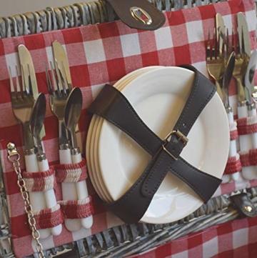 CREOFANT Picknickkorb für 4 Personen · Piknikset · Weidenkorb mit Picknickdecke · 22 teiliges Picknick-Set mit Geschirr · Picknickkoffer Set mit Decke (Natur Karo Rot) - 7