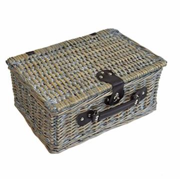 CREOFANT Picknickkorb für 4 Personen · Piknikset · Weidenkorb mit Picknickdecke · 22 teiliges Picknick-Set mit Geschirr · Picknickkoffer Set mit Decke (Natur Karo Rot) - 8