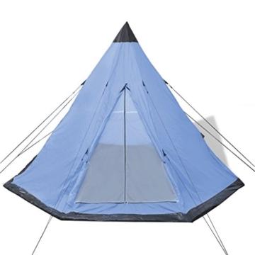 Festnight 4-Personen Zelt Campingzelt Outdoor Tent 365 x 365 x 250 cm für Wandern Camping Hiking - Hellblau - 4