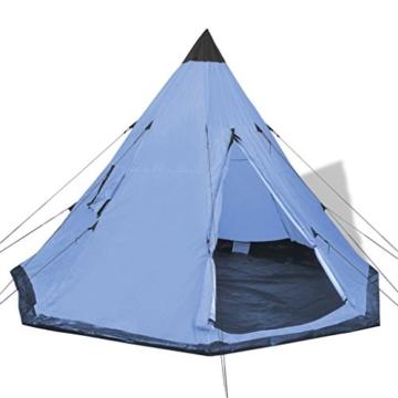 Festnight 4-Personen Zelt Campingzelt Outdoor Tent 365 x 365 x 250 cm für Wandern Camping Hiking - Hellblau - 1