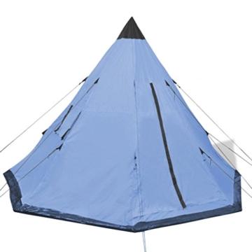 Festnight 4-Personen Zelt Campingzelt Outdoor Tent 365 x 365 x 250 cm für Wandern Camping Hiking - Hellblau - 7