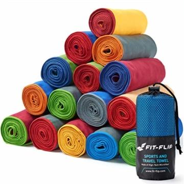 Fit-Flip Dunkelgrün mit dunkelblauen Rand, 1x 200x100cm | campinghandtuch Strandtuch 200x100 mikrofaser saunatuch 200x100 microfaser duschtücher sporthandtücher microfaser - 1
