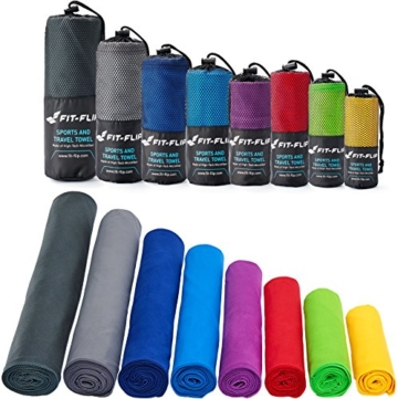 Fit-Flip Sporthandtuch, Reisehandtuch, Microfaser-Badetuch, XXL Strandhandtuch, Sauna Microfaser Handtuch groß (100x200cm blau) - 1