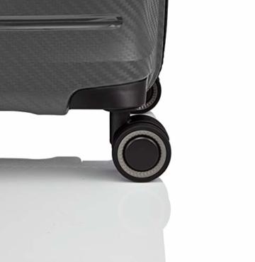 Gepäck Serie HIGHLIGHT: Leichte TITAN Hartschalen Trolleys im Carbon Look, 4-Rad Bordtrolley mit Vortasche, erfüllt IATA-Bordgepäckmaß, 842409-04, 55 cm, 42 Liter, Anthracite (Grau) - 3