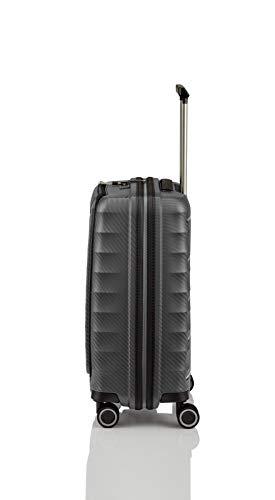 Gepäck Serie HIGHLIGHT: Leichte TITAN Hartschalen Trolleys im Carbon Look, 4-Rad Bordtrolley mit Vortasche, erfüllt IATA-Bordgepäckmaß, 842409-04, 55 cm, 42 Liter, Anthracite (Grau) - 4