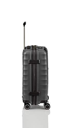Gepäck Serie HIGHLIGHT: Leichte TITAN Hartschalen Trolleys im Carbon Look, 4-Rad Bordtrolley mit Vortasche, erfüllt IATA-Bordgepäckmaß, 842409-04, 55 cm, 42 Liter, Anthracite (Grau) - 5