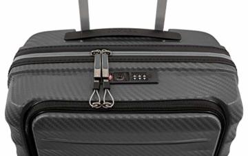 Gepäck Serie HIGHLIGHT: Leichte TITAN Hartschalen Trolleys im Carbon Look, 4-Rad Bordtrolley mit Vortasche, erfüllt IATA-Bordgepäckmaß, 842409-04, 55 cm, 42 Liter, Anthracite (Grau) - 6