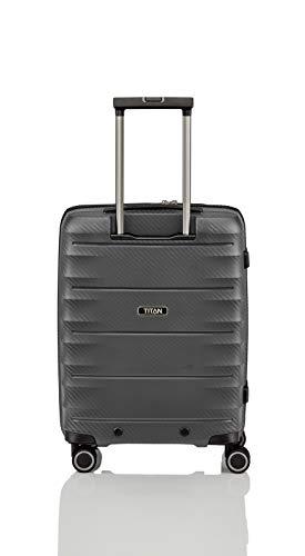 Gepäck Serie HIGHLIGHT: Leichte TITAN Hartschalen Trolleys im Carbon Look, 4-Rad Bordtrolley mit Vortasche, erfüllt IATA-Bordgepäckmaß, 842409-04, 55 cm, 42 Liter, Anthracite (Grau) - 7