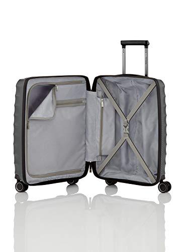 Gepäck Serie HIGHLIGHT: Leichte TITAN Hartschalen Trolleys im Carbon Look, 4-Rad Bordtrolley mit Vortasche, erfüllt IATA-Bordgepäckmaß, 842409-04, 55 cm, 42 Liter, Anthracite (Grau) - 9