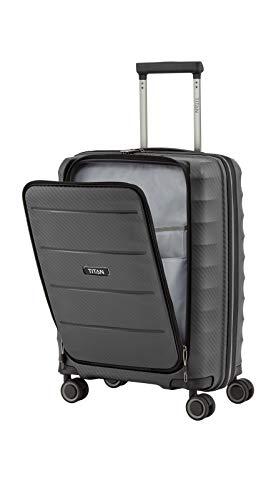 Gepäck Serie HIGHLIGHT: Leichte TITAN Hartschalen Trolleys im Carbon Look, 4-Rad Bordtrolley mit Vortasche, erfüllt IATA-Bordgepäckmaß, 842409-04, 55 cm, 42 Liter, Anthracite (Grau) - 10