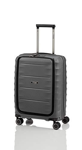 Gepäck Serie HIGHLIGHT: Leichte TITAN Hartschalen Trolleys im Carbon Look, 4-Rad Bordtrolley mit Vortasche, erfüllt IATA-Bordgepäckmaß, 842409-04, 55 cm, 42 Liter, Anthracite (Grau) - 1