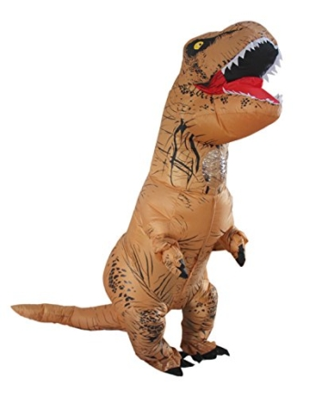 Halloween erwachsene aufblasbare T-rex Dinosaurier-Partei-Kostüm Lustige Kleid Braun - 4