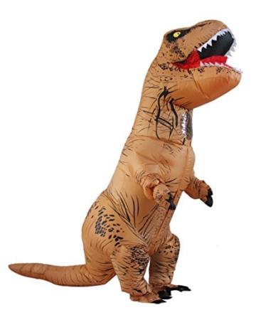 Halloween erwachsene aufblasbare T-rex Dinosaurier-Partei-Kostüm Lustige Kleid Braun - 1