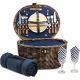 HappyPicnic Oval Picnickorb für 2 Personen mit Kühlfach und Besteck, Naturweide Picknickkoffer mit Decke, Dunkelblau - 1