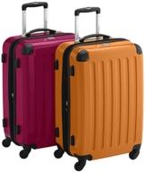 HAUPTSTADTKOFFER - Alex Kofferset - 2 x mittelgroßer Koffer Hartschalentrolley mit Erweiterung, 55 cm, 42 Liter, Magenta-Orange - 1