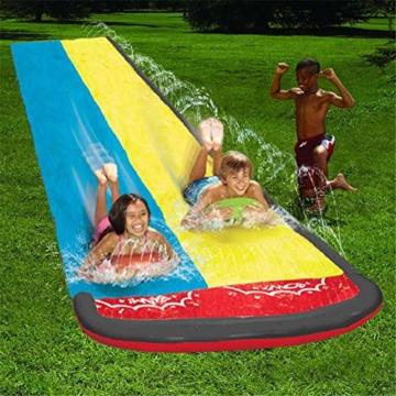 Hete-supply Hinterhof Wasserrutsche für Kinder Erwachsene, Gartenrennen Doppel Wasserrutschen Matte, aufblasbares Surfbrett, Sommerspray Wasserspielzeug, Outdoor Grass Game - 2