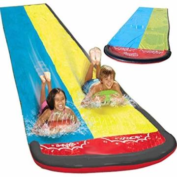 Hete-supply Hinterhof Wasserrutsche für Kinder Erwachsene, Gartenrennen Doppel Wasserrutschen Matte, aufblasbares Surfbrett, Sommerspray Wasserspielzeug, Outdoor Grass Game - 1