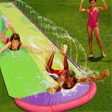 Hete-supply Hinterhof Wasserrutsche für Kinder Erwachsene, Gartenrennen Doppel Wasserrutschen Matte, aufblasbares Surfbrett, Sommerspray Wasserspielzeug, Outdoor Grass Game - 5