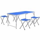 Homfa Campingtisch Klapptisch Gartentisch Falttisch mit 4 Stühlen aus Aluminium faltbar höhenverstellbar blau 120x60x55/60/70cm - 1