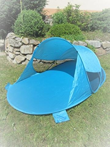 IMC Manufactoria Pop-Up Strandmuschel blau Wurf-Zelt Strand Camping Sonnen-Schutz Wind XXL Familien Kinder Baby türkis - 1